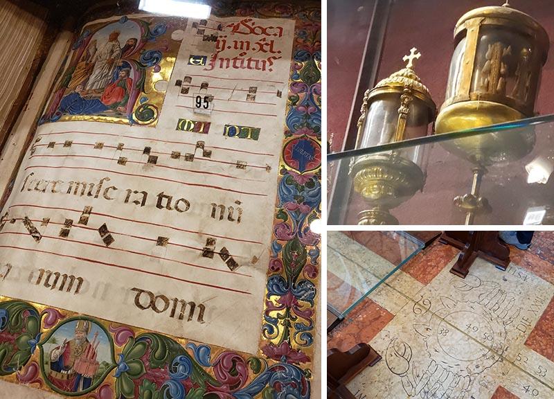 Iluminura, relíquias e detalhe do piso na Basílica de São Petrônio