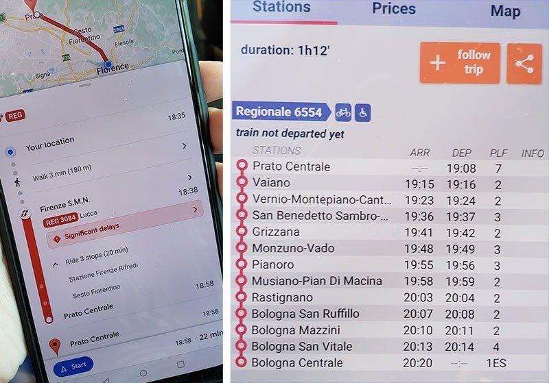 Aplicativo Google Maps e Trenit indicando os horários dos trens