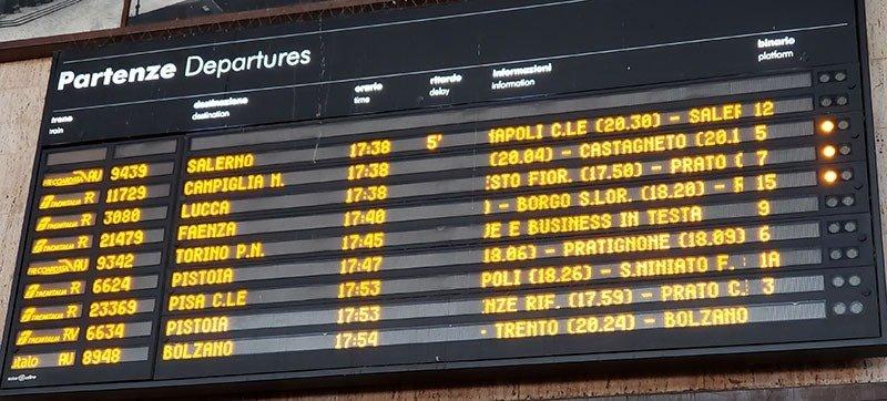 painel da estação de trem com informações