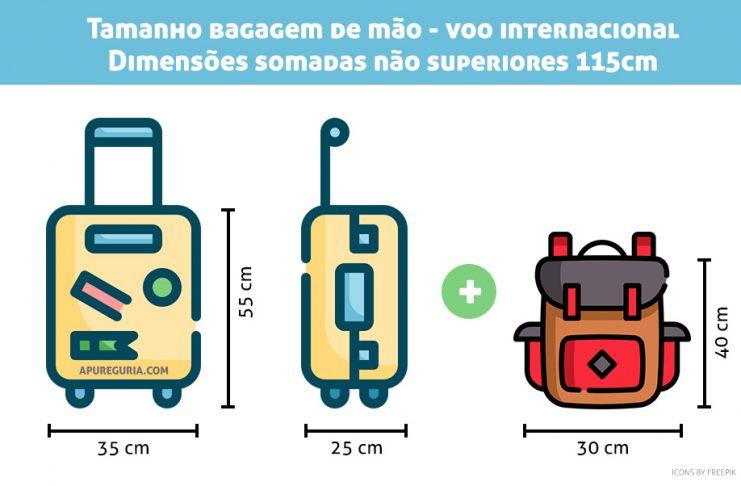 Tamanho da bagagem de mão voo internacional