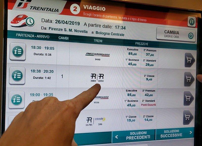 tela comprar passagem trem na italia estacao