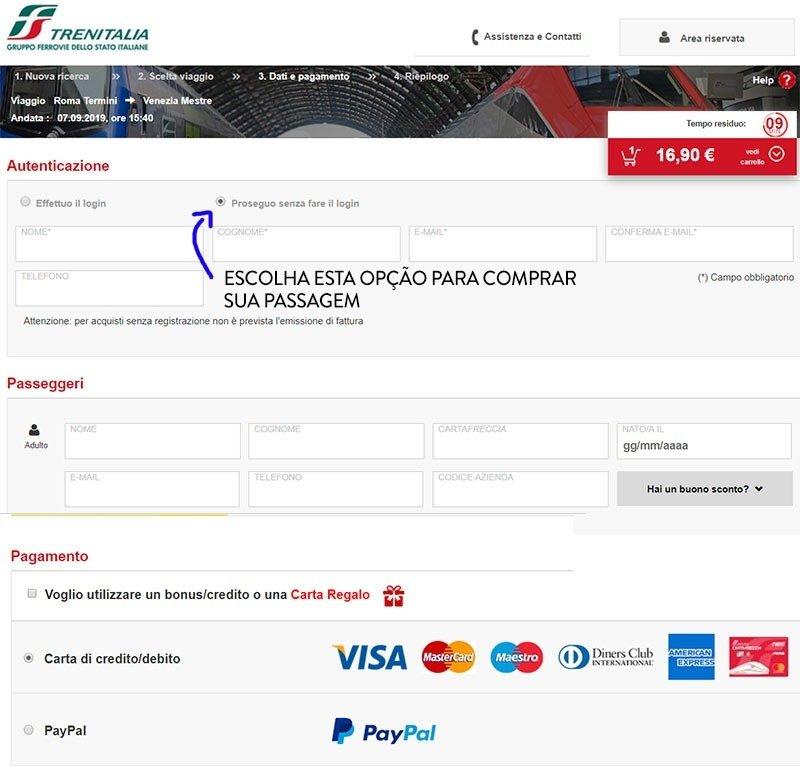 tela de compra de passagem trem italia