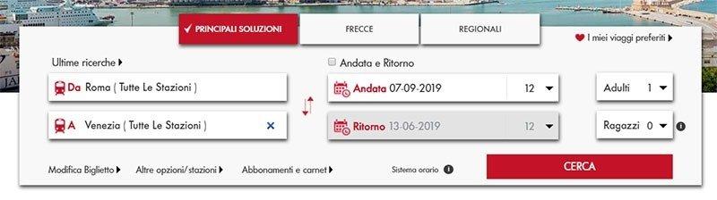 Tela inicial para compra de bilhete na Trenitalia