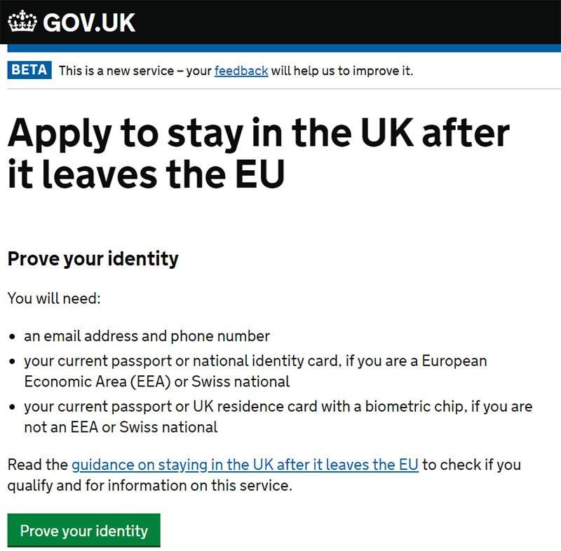 Tela para aplicação do visto cônjuge de europeu no Reino Unido Pre Settled