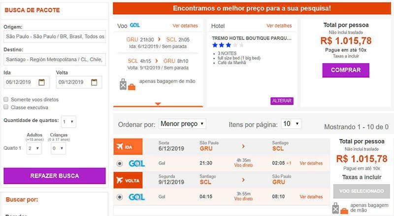 Pacote de viagem Santiago 3 noites com aereo e hotel