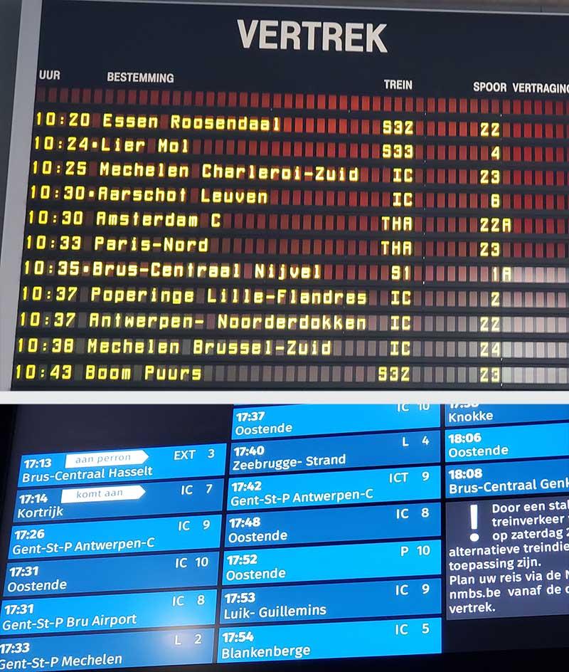 Paineis com horarios de trem na belgica