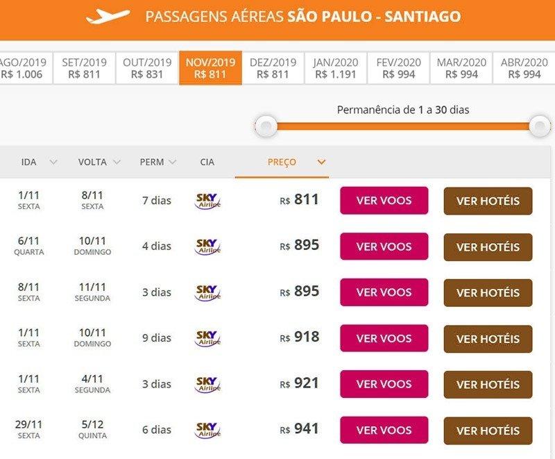 Passagem em Promoção Santiago pacote turistico