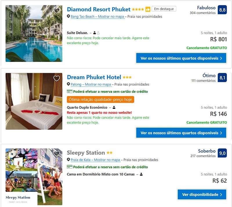 Preços de hospedagem em Phuket na Tailandia