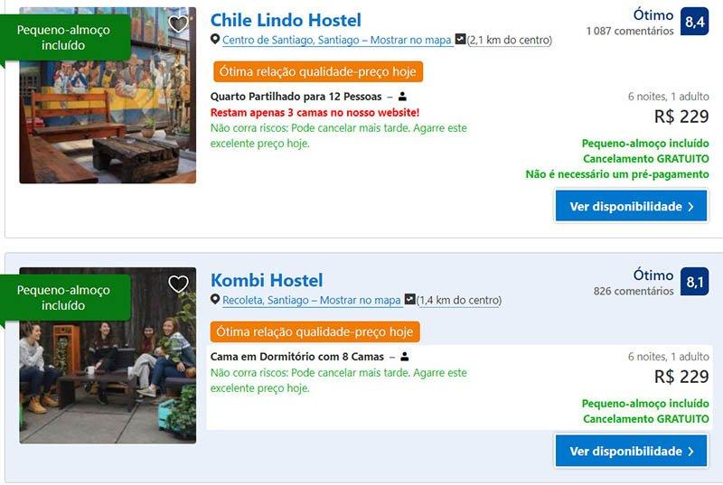 Preços de hostels em Santiago pacote turistico