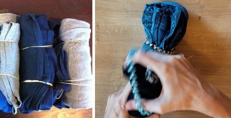 elastico no rolinho de roupa
