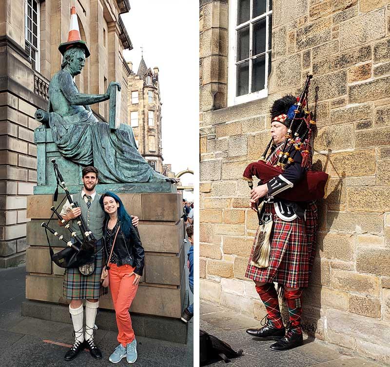 Escoceses tocando gaita de foles vestidos com kilt completo!