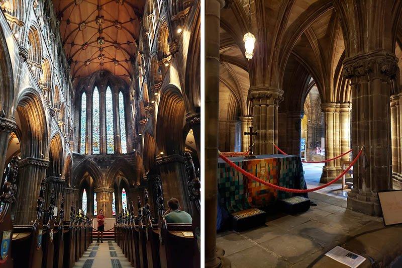 Interiores da Catedral de Glasgow e túmulo de São Mungo