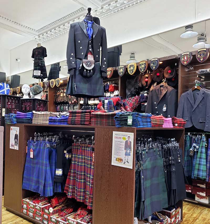 Loja de kilt em Edimburgo