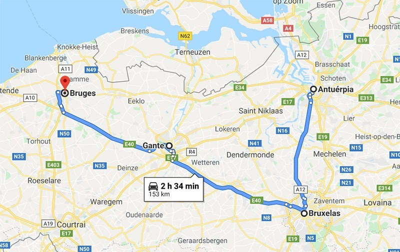 mapa roteiro belgica 6 dias