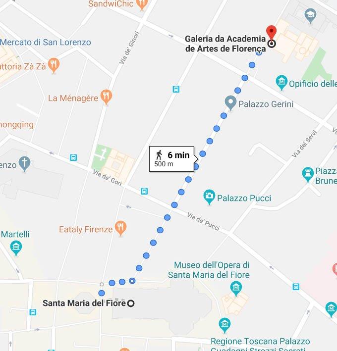 Mapa da Catedral para a Galleria e David