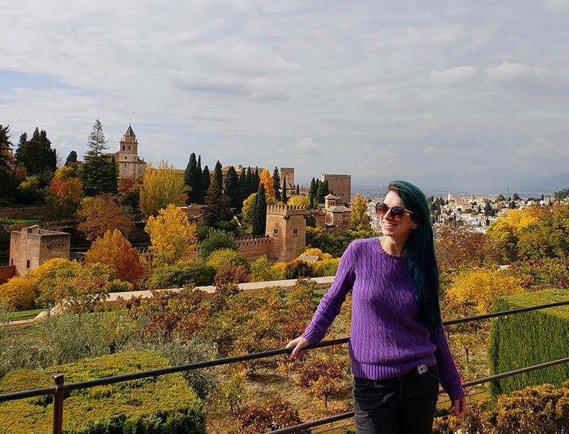 Vista do Generalife para os Palacios Nazaries e Alcazaba