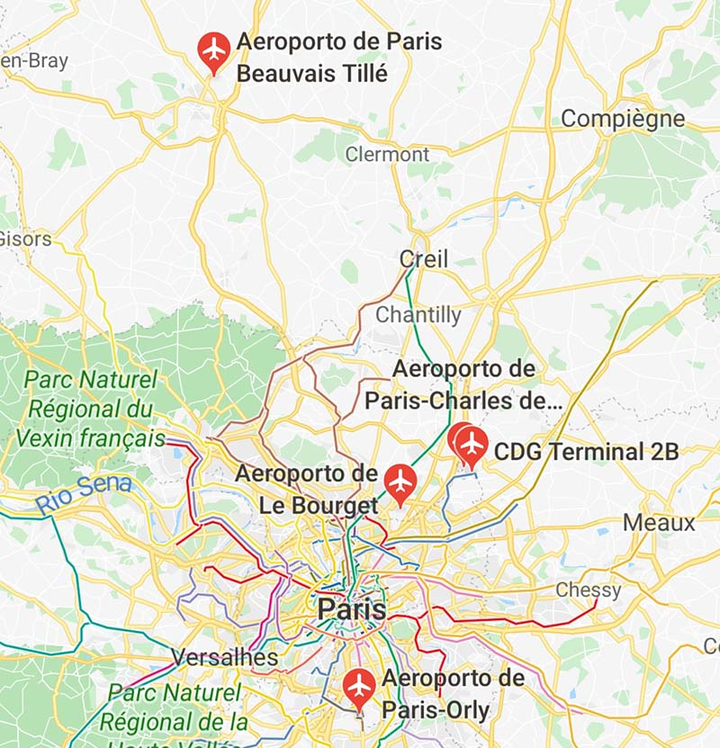aeroportos de paris distancia