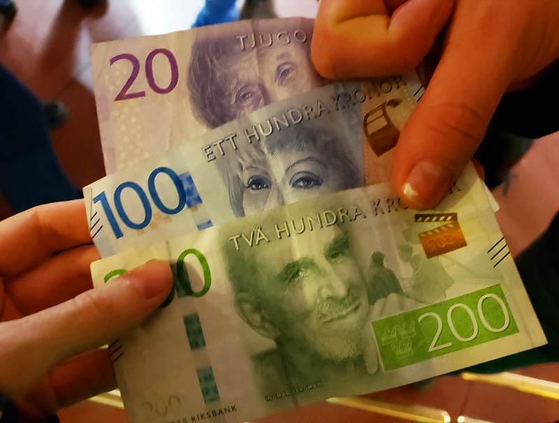 nota coroa sueca dinheiro