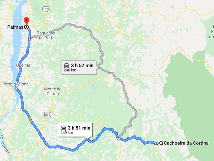 Mapa Almas até Palmas