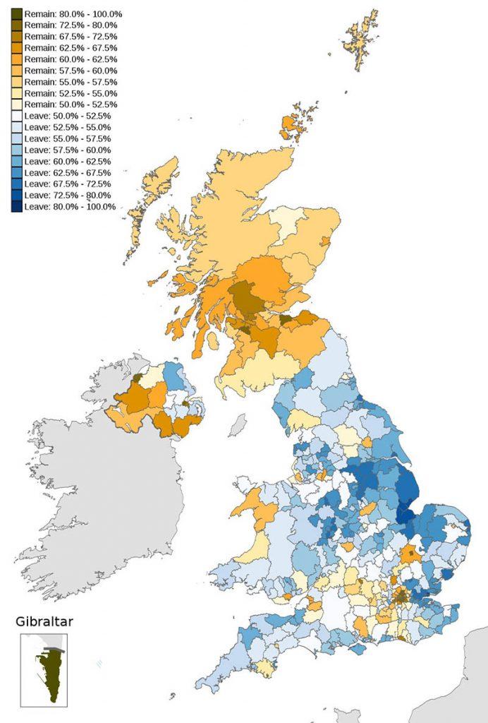 mapa brexit votos a favor contra permanecer uniao europeia por regiao
