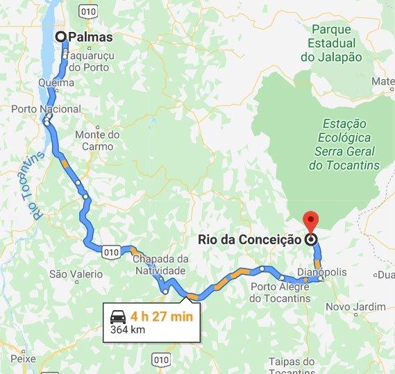 mapa palmas rio da conceicao
