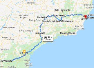 mapa roteiro minas gerais e espirito santo de carro