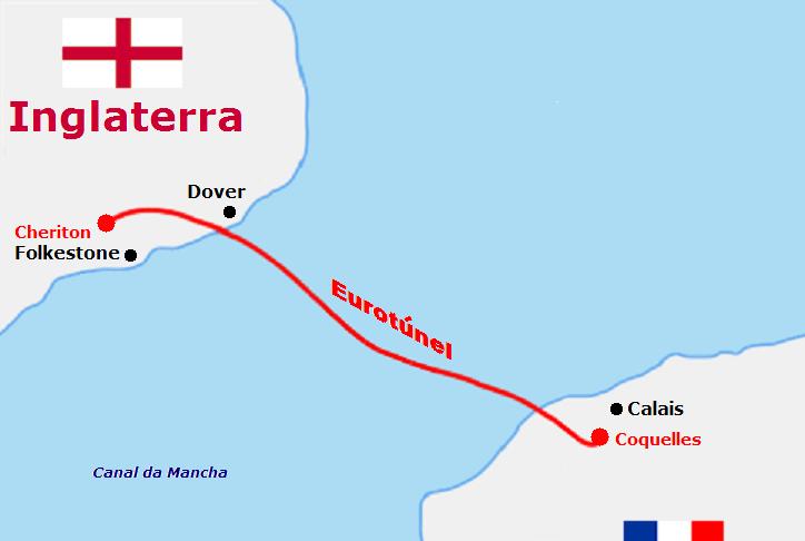 trajeto eurotunel entre inglaterra franca