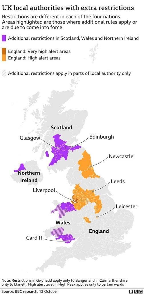 Mapa com Restrições no Reino Unido  Segunda Onda do coronavírus