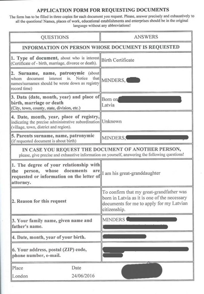 formulario requerimento de documento cidadania