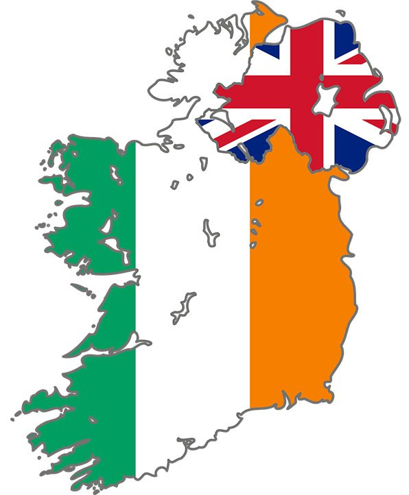 bandeira irlanda do norte divisao mapa