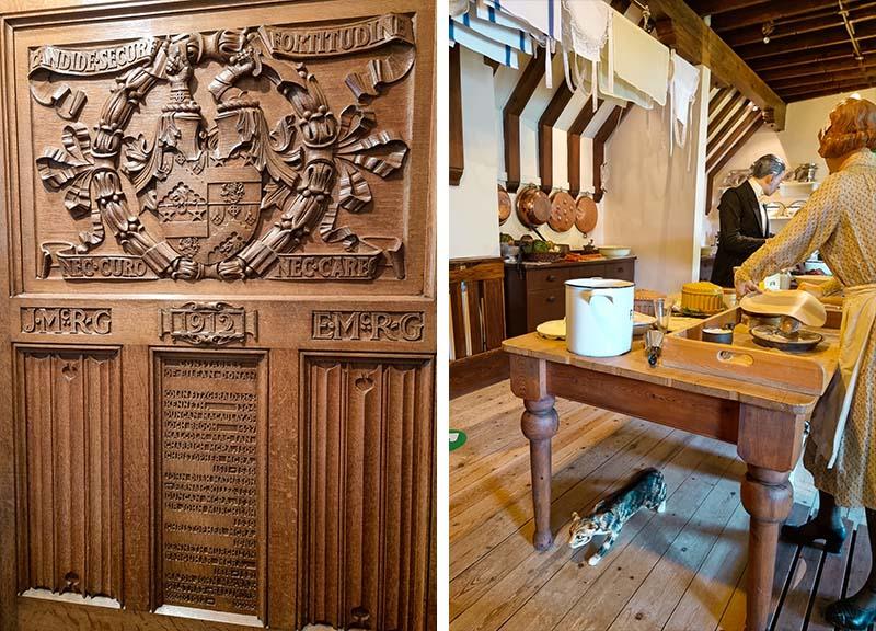 porta entalhada e cozinha do castelo