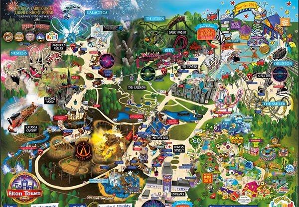 alton towers mapa parque de diversoes