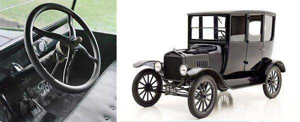modelo ford t e volante na esquerda