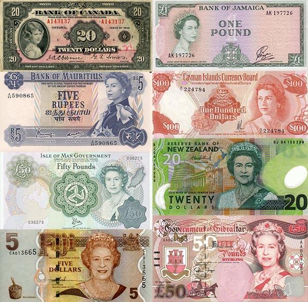 notas de dinheiro rainha elisabeth ii