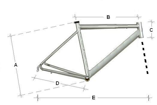 A medida A representa o tamanho do quadro: distância do tubo vertical, que liga o selim ao movimento central da bicicleta.