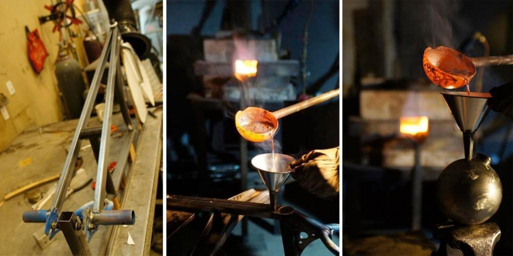 """O nascimento da Gravity Bike. No detalhe, a """"bomba"""" de 12,5kg que ajuda na estabilidade da bicicleta. Via http://sincycles.blogspot.com.br"""