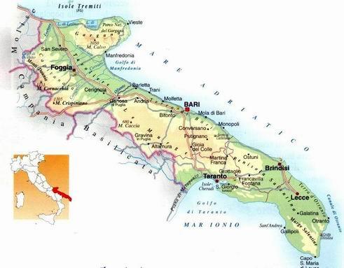 A Região da Puglia em destaque