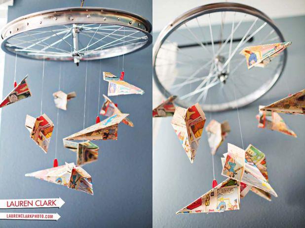 Móbile com roda de bicicleta