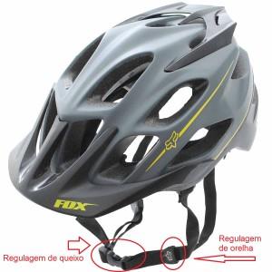Regulagens de queixo e orelha do capacete de ciclismo