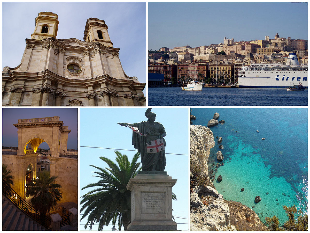 Montagem com fotos de Cagliari. Di various users from flickr, CC BY-SA 3.0, https://commons.wikimedia.org/w/index.php?curid=9781954