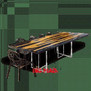Mesa de Jantar Crystal Black Com Resina e Tora de madeira