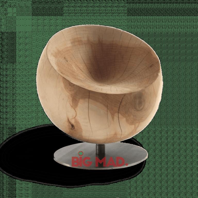 Poltrona Côncavo Madeira Macica com Base em Inox