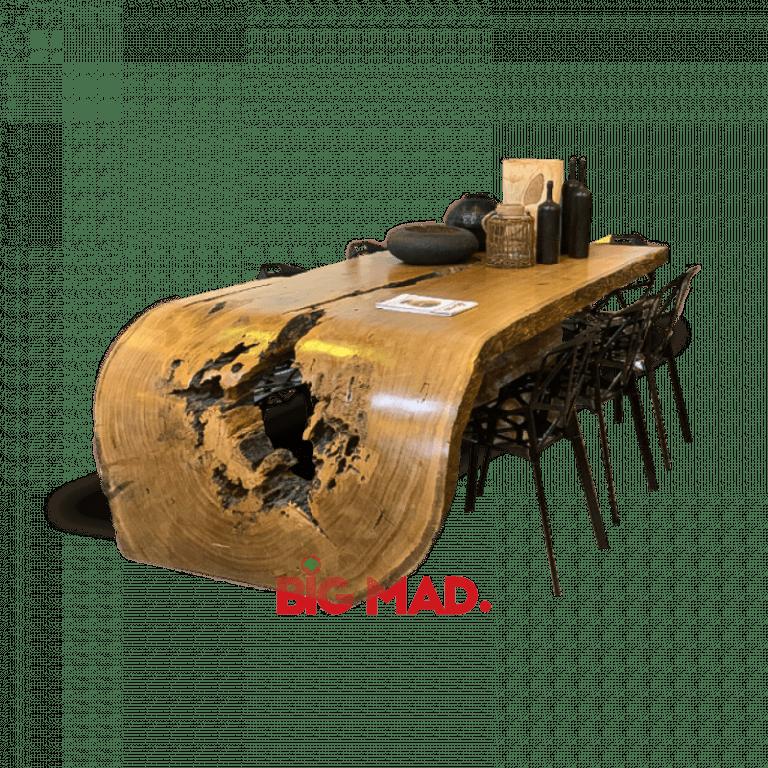 Mesa de Jantar Tora de Madeira Curve