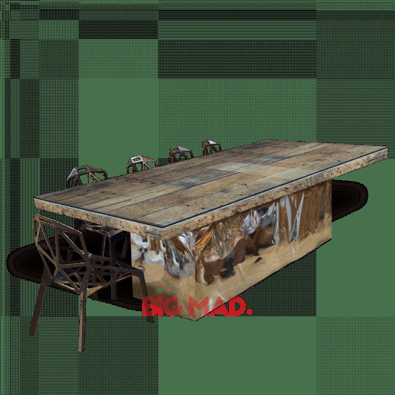 Mesa de Jantar Madeira Dormente base inox
