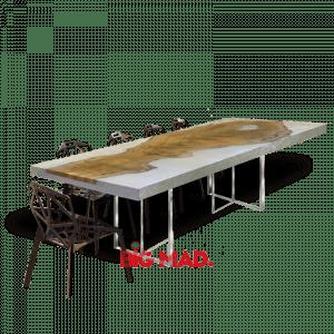 Mesa de Jantar Tora de Madeira Com Resina Branca