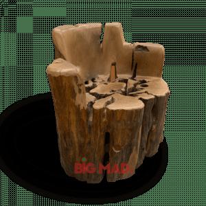 Poltrona Tora de Madeira Macica Com Braços