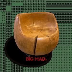 Poltrona Soft de Madeira Macica Com Base