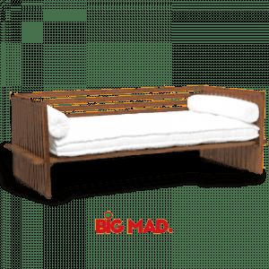 Sofa de Madeira Grid Com Estofado