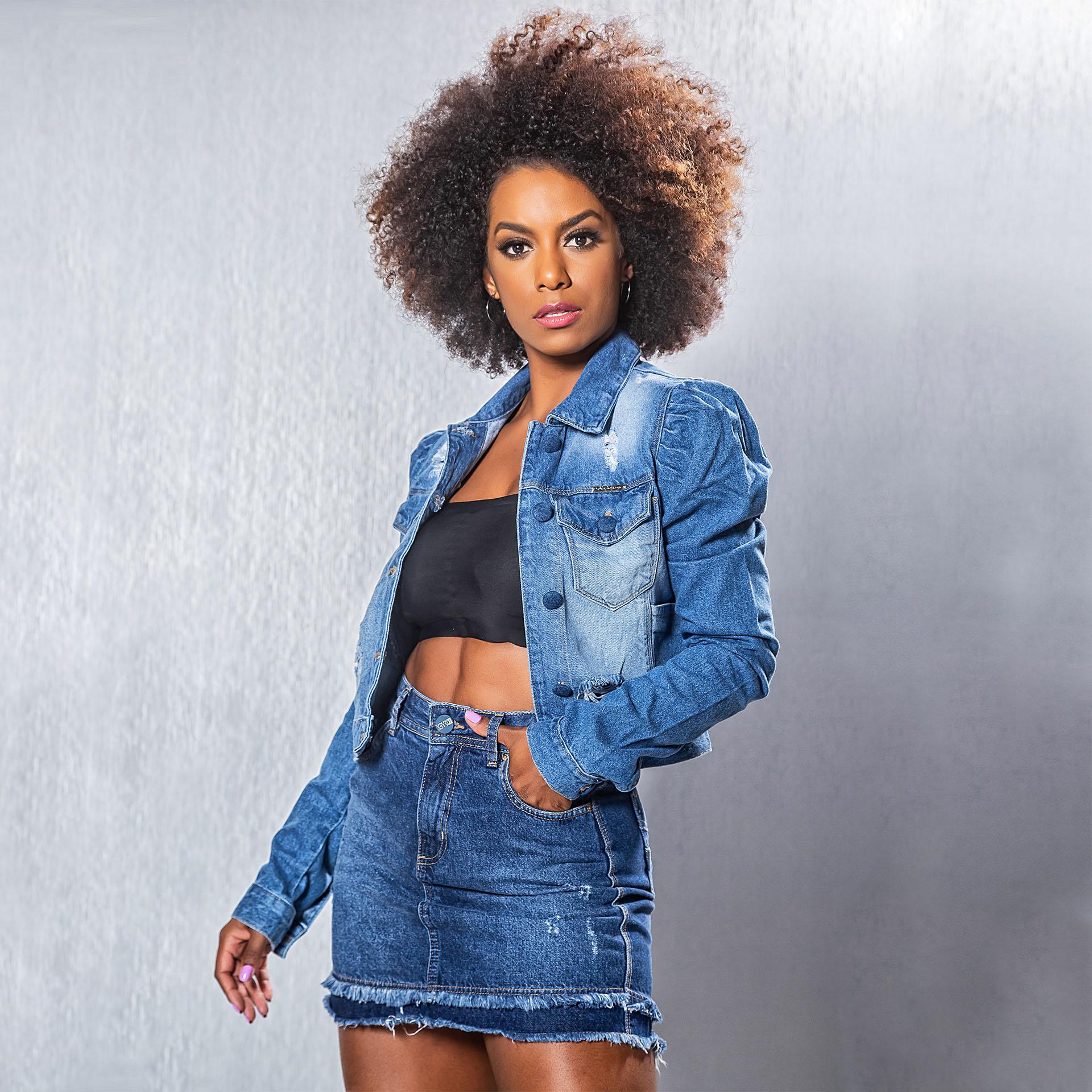 Jaqueta e Saia Jeans