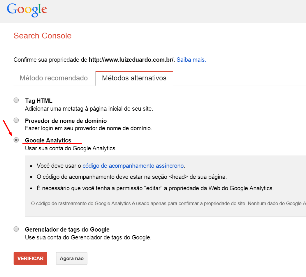 Como integrar google search console a sua loja virtual for Search console